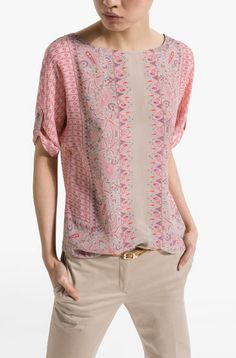 PRINTED SILK OVERSIZE BLOUSE WITH SHORT BUTTON TAB SLEEVES