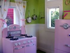 playhouse kitchen ... LOVE the walls !!! they could change it up however they wanted