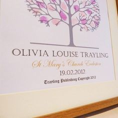 Personalised Christening Fingerprint Tree Guest Print