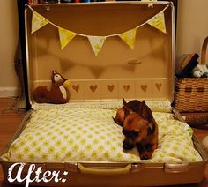 upcycled dog bed I am going to use and old feather bed and make this for joon bug.