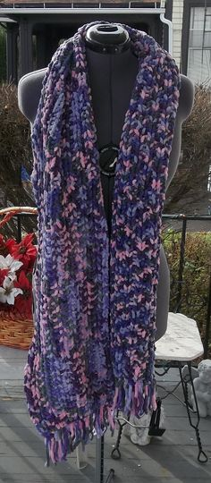 Pink purple grey fringe scarf knit fleece by LilMindas on Etsy, $50.00