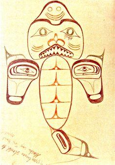 Haida dogfish tatoo drawing.