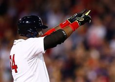 BOSTON, MA - AUGUST 16: David Ortiz #34 of the Boston Red Sox celebrates his two-run double in the 8th inning against the Houston Astros during the game at Fenway Park on August 16, 2014 in Boston, Massachusetts. (Photo by Jared Wickerham/Getty Images)