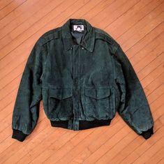 14d7652d713 SUPER UNIQUE Vintage Green Suede Bomber Jacket