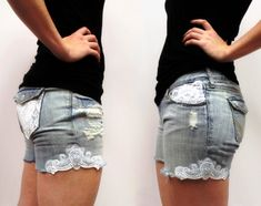 How to turn funky jeans into pretty shorts with this tutorial by Urban Threads. Diy Shorts, Lace Shorts, Lace Embroidery, Embroidery Designs, Machine Embroidery, Embellished Shorts, Embroidered Shorts, Shorts Tutorial, Do It Yourself Fashion
