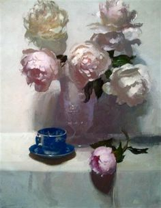 Peonies on White by Dennis Perrin