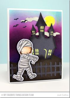 Mummy stamp set and Die-namicsFrightful Fence Die-namics, Snow Drifts Die-namics, Spooky House Die-namics - Jodi Collins #mftstamps