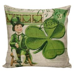 St. Patrick's Day Pillow Shamrock Pillow by ElliottHeathDesigns