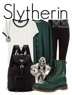 """""""Slytherin from Harry Potter // Back to School Style"""" by ginger-coloured ❤ liked on Polyvore featuring Miss Selfridge, Tsumori Chisato, A.P.C., Prada, Dr. Martens and Eva Fehren"""