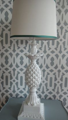 Pineapple Lamp White Quartite | Trellis Wallpaper