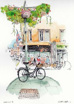 Chris lee watercolor sketch sketching--urban sketching в 201 Pen And Watercolor, Watercolor Landscape, Watercolor Paintings, Watercolors, Illustration Sketches, Art Sketches, Illustrations, Chris Lee, Watercolor Architecture