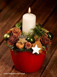 Stroik bożonarodzeniowy ze świecą w doniczce 1
