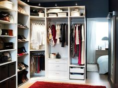 Ikea walk in closet ideas - love the color and organization