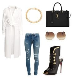 Happy hour by kisses4everrr on Polyvore featuring polyvore, fashion, style, H&M, Yves Saint Laurent, Christian Louboutin, Alessandra Rich and Victoria Beckham