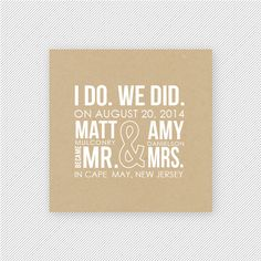 I Do, We Did Printable Elopement Announcement Suite