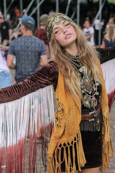 retro hippy fringe. Use something that won't tangle in the wind. (thick fleece strips or even leather. )