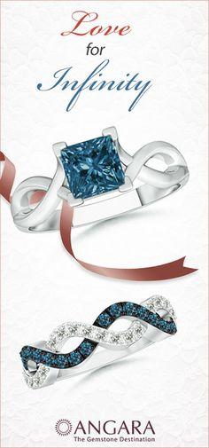 Blue Diamond Wedding Ring Set in 14K White Gold - Angara.com