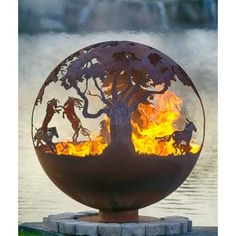 "Wildfire 37"" Horse Themed Fire Pit Sphere 