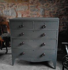 Antique chest of drawers painted in graphite chalk paint