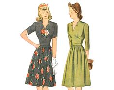 Vintage 40s Dress Pattern Fitted Midriff Bust 34 Simplicity 4671 Shirred Bodice