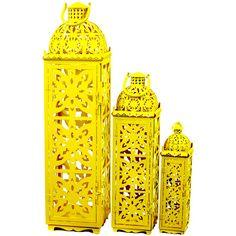 3 Piece Miranda Lantern Set in Yellow