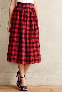 Kolonaki Buffalo Plaid Midi Skirt - yes! #anthrofave