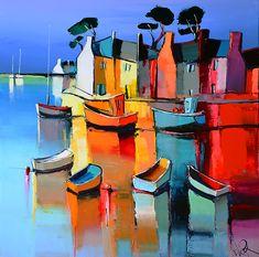 Landscape Artwork, Watercolor Landscape, Ship Paintings, Coastal Art, Modern Artwork, Happy Art, French Art, Oil Painting On Canvas, New Art