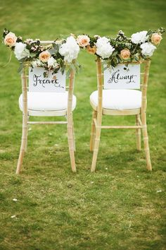 Chairs decorated with Peach and Cream Flower Garlands   Photography by http://www.mikeandtom.co.uk/cheshire-wedding-photographers/