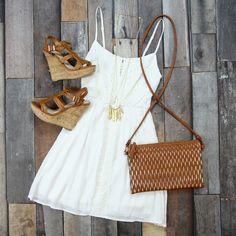 Crochet Bodice Dress in White --  Just $39!