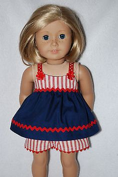 Doll clothes fit 18 American Girl Dolls of July set handmade in the USA. American Doll Clothes, Ag Doll Clothes, Doll Clothes Patterns, Ag Dolls, Girl Dolls, Patriotic Dresses, 4th Of July Outfits, Barbie Patterns, Doll Crafts