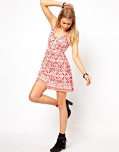 Image 4 of ASOS PETITE Exclusive Skater Dress With Tie Back Detail