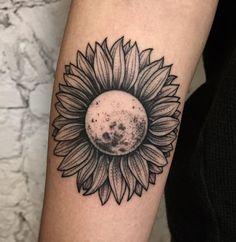 Luna y girasol tatuaje - Tattoo moon black #black #moon #tatuaje #luna #girasol