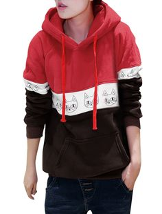 Lady Long Sleeved Cute Cat Head Prints Hoodie Red XS at Amazon Women's Clothing store: