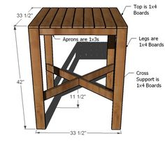 Ana White | Build a Outdoor Modern Bar Table, X Base | Free and Easy DIY Project and Furniture Plans