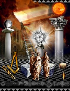 Freemasonry:  A modern Entered Apprentice tracing board. #Freemasonry, from which were derived many of the concepts used in Wicca.