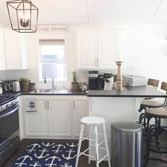 RV renovation - check out the before & After Cottage Renovation, Cozy Place, Home Reno, Lake View, Kitchen Cabinets, Wood, Check, Rv, Table