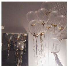 gold confetti filled balloons