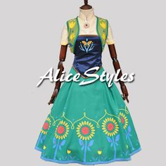 2015 Disney Frozen Fever Queen Anna Dress Anna Fever Cosplay Dress Style 2 Custom made in any size