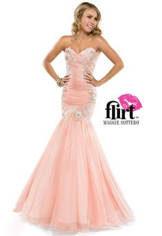 Flirt's chiffon fit and flare gown with sweetheart neckline, delicately beaded lace and open back closure. See the gown!