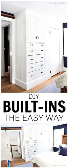 A tutorial for building built-ins the easy way using an Ikea dresser and cabinet to create Shaker style built ins in a bedroom. #builtsin #diyfurniture