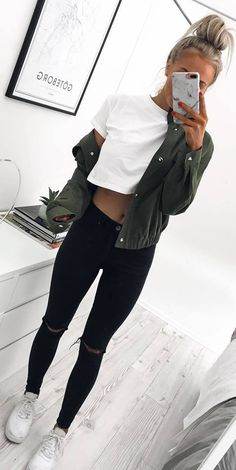 #fall #outfits green jacket crop top black pants