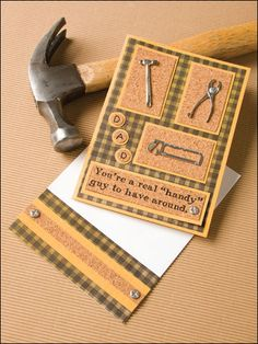 Dad is a Handy Guy Paper Crafting Pattern Download from e-PatternsCentral.com -- Tiny tools embellish this cork-backed card for Father's Day.