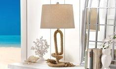 LAMPE DE TABLE NAUTIQUE : Lampe Nautique, cordage de fer avec abat-jour brun de polyester. Exige ampoule type A 100 watts maximum.