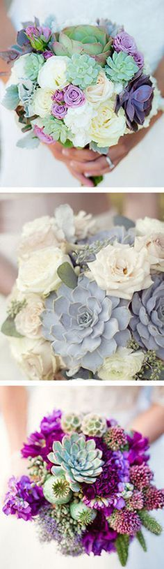 Are you into the idea of succulents in your wedding bouquet? #wedding #flowers #inspiration