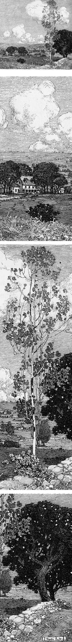 Eye Candy for Today: Franklin Booth pen and ink landscape drawing by allisonn Ink Illustrations, Illustration Art, Photo Ciel, Franklin Booth, Realistic Eye Drawing, Drawing Eyes, Ink Pen Drawings, Landscape Drawings, Pen Art