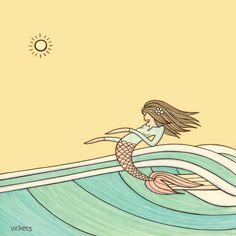 Hang Fin, surfing mermaid - Surf poems and drawings by Joe Vickers