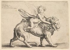 Cupid on a Lion Wenceslaus Hollar (Wenzel Vaclav) (Bohemian, Prague 1607–1677 London)  Artist:     After Giulio Romano (Italian, Rome 14...