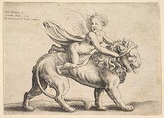 Cupid on a Lion Wenceslaus Hollar (Wenzel Vaclav) (Bohemian, Prague 1607–1677 London)  Artist:     After Giulio Romano (Italian, Rome 14...