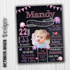 Elephant 1st Birthday, Chalkboard, Printable, Chalkboard Poster, Birthday Sign, Digital by OctoberSkiesDesigns on Etsy