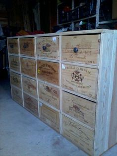 Pallets and wine boxes... LOVE this. Would love to use this as part of a wall unit desk area